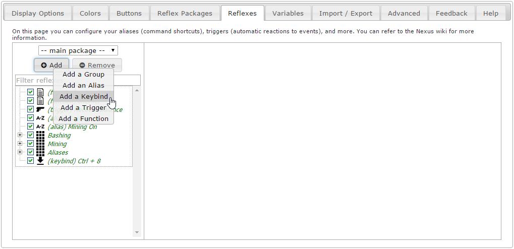 Keybinds - Iron Realms Nexus Client Documentation